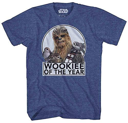 Star Wars Camiseta Chewbacca Wookie of The Year Porgs, Azul-marinho mesclado, 5XL