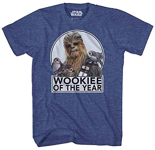 Star Wars Chewbacca Wookie of The Year Porgs T-Shirt (Large, Heather Navy)