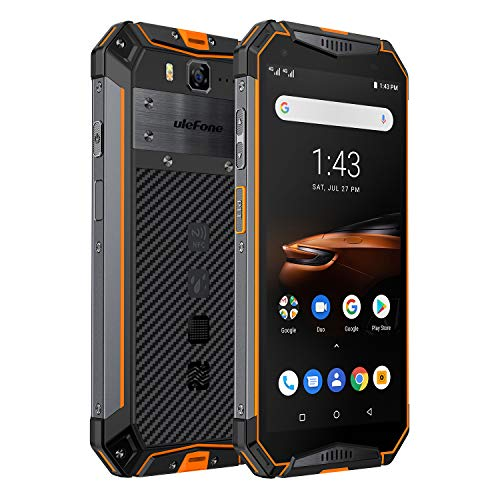 Ulefone Armor 3W(2019) Rugged Smartphone Unlocked, IP68 Waterproof Cell phone, Android 9.0 10300mAh Big Battery 6GB+64GB, Dual 4G Global Bands 5.7' FHD+, Compass, GPS+Glonass, NFC, Shockproof (Orange)