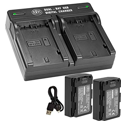 NP-FZ100 Replacement Battery and Dual Bay Charger for Sony Alpha 1, FX3, a7C, a7S III, a6600, a7R IV, A7RIII, A7R3, a7 III, Sony Alpha A9, Alpha a9 II, Alpha 9R, A9R, Alpha 9S (2-Pack) by BM Premium