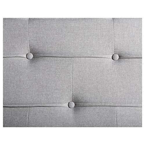 IDIMEX Lit Double pour Adulte Nizza Couchage 140 x 190 cm 2 Places / 2 Personnes, avec sommier et Pieds en métal chromé, revêtement en Tissu capitonné Gris