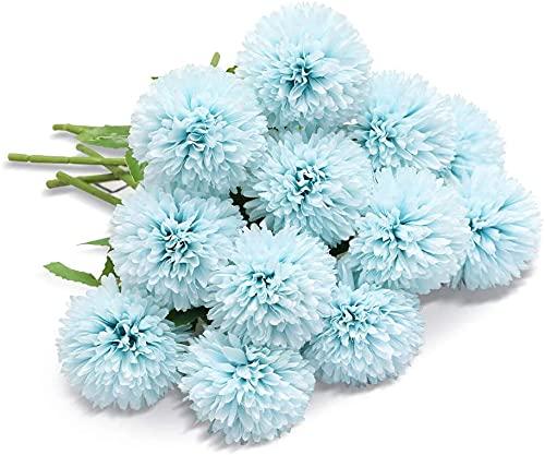FLOWM 10 unidades de flores artificiales artificiales de flores de crisantemo, flores de seda, hortensias, plantas secas, decoración de mesa, boda, salón, balcón, dormitorio, regalo