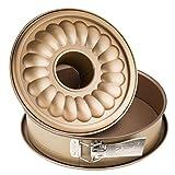 Zenker Springform Ø 26 cm MOJAVE GOLD, Backform mit Flach- und Rohrboden aus Stahlblech, runde Kuchenform mit keramisch verstärkter Antihaftbeschichtung (Farbe: Mahagoni/Gold), Menge: 1...