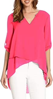 PEIZH Sexy Women Irregular Chiffon Blouse Cropped Sleeves V-Neck Can Be Sleeved Loose Shirt