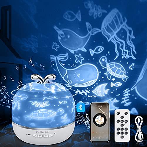 Sternenhimmel Projektor, CoPedvic 3 in 1 Bluetooth Lautsprecher Projektor Kinder mit 6 Projektionsfilmen 360° Drehbar Nachtlicht Projektor Baby Lampe mit Fernbedienung Timer Baby Nachtlicht Projektor