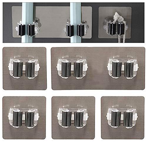 ManLee 5 Pezzi Portascope da Muro Autoadesiva Porta Scope Parete Regolabile Mop Broom Holder Antiscivolo Porta Attrezzi da Muro per Cucina Giardino Garage Bagno Ufficio