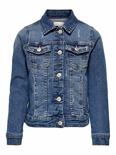 Only KONSARA Med Blue DNM Jacket Chaqueta de Jean, Medio De Mezclilla Azul, 122 cm para Niñas