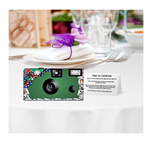 5 Poker Night Custom Disposable Cameras, Can be Personalized, Single Use
