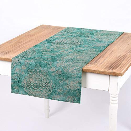 SCHÖNER LEBEN. Bello da Vivere. Centrotavola Oriental Vintage Verde Menta Beige 40 x 160 cm