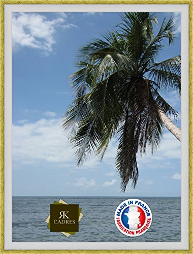Caisse américaine pour Une Toile Format Paysage 8 33x46 / 46 x 33 Cadres Caisse Americaine Blanc Or, 4 cm de Largeur, Cadre en Bois