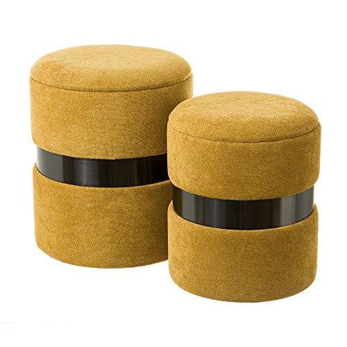 Set de 2 Puffs baúl Mostaza contemporáneos de Terciopelo y Madera - LOLAhome