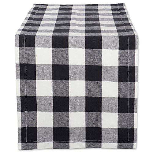DII Cotton Buffalo Check Table Runner for Family Dinners or Gatherings, Indoor or Outdoor Parties, & Everyday Use (14x108',  Seats 8-10 People), Black & White