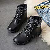 Mrzhou Botas para Mujer Botas de Nieve cálidas de Invierno Botas de Cuero de Terciopelo para Mujer Mujeres de Invierno Zapatos de Felpa (Color : WSH3431 Black, Shoe Size : 4.5m)