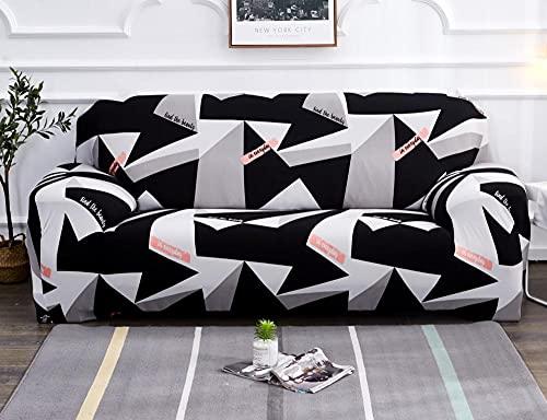 Funda Sofas 2 y 3 Plazas Triángulo Negro Gris Fundas para Sofa con Diseño Elegante Universal,Cubre Sofa Ajustables,Fundas Sofa Elasticas,Funda de Sofa Chaise Longue,Protector Cubierta para Sofá