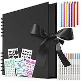 WEARXI - Álbum de fotos para manualidades, libro de fotos para diseñar, páginas negras para pegar DIY 12 bolígrafos metálicos y 5 tablas (80 páginas)