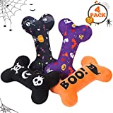 SCENEREAL Dog Squeaky Toy - Halloween Bone Toy 4 Pack - Durable Plush Chew Toys with Squeakers Interactive Game Suitable for Small Medium Dogs