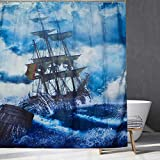 Seefahrt des Segelbootes Duschvorhang, Aquarell Karibik Piratenschiff Kreuzfahrten im Schatzabenteuer, Badezimmerdekor für Kinder, nautisches Geschenk für Junge.70x70Zoll
