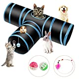 PHYLES Tunnel Chat Jeu Chat, Tunnel Lapin Pet Tunnel 3 Way Crinkle Tunnel Tube Pliable Jouet pour Les Chats Lapins, Chiens, Animaux de Compagnie, avec Jouet pour Chat Canne a Peche