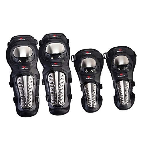 SM SunniMix Rodilleras de Codo de Motocicleta para Adultos de 4 Piezas, Protector de Rodilleras de Codo de Motocross/Motocicleta/Ciclismo, Equipo de Protecció
