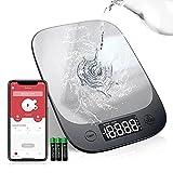 Bilancia da Cucina Bluetooth, Sinocare 5Kg/11lbs Professionale Acciaio Inox Alta Precision Bilancia Display LED Multifunzione Elettronica per la Casa e la Cucina con Funzione Tare, 3 Batteries Incluse