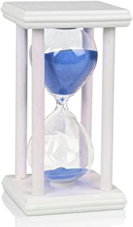 One Hour Hourglass Sand Timer Wooden White Frame Stand Sandglass Clock Timer for Office Kitchen Home Decor (Blue Sand, 60 min)