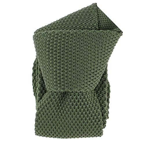 Clj Charles Le Jeune. Cravate tricot. Dandy Farmer, Microfibre. Vert, Uni.