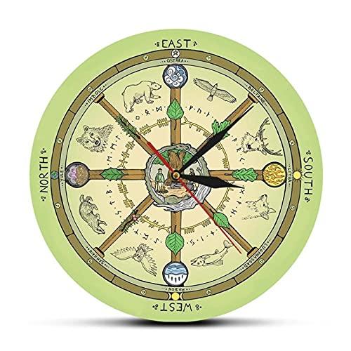 hufeng Reloj de Pared La Rueda del año Reloj de Pared con i