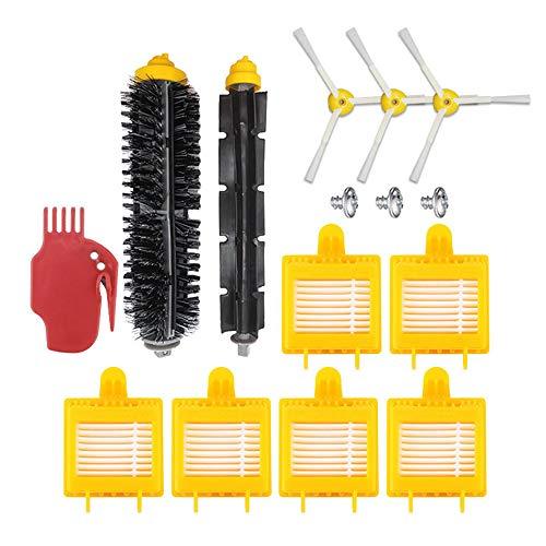 Festnight borstelaccessoires-kit compatibel met de stofzuiger I-Robot 700 vervangende accessoires voor de veegmachine (hoofdborstel + 3 x zijborstel (met schroeven) + platte borstel + 6 x filternet)