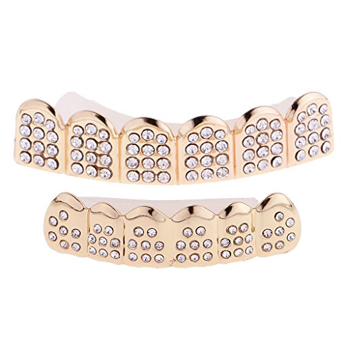 sharprepublic Gold Plated Crystal Grill Tooth Clip Mouth Teeth Cap Grills Bling Hip Hop