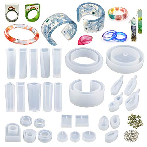 LETS RESIN 30pcs Resin Jewelry Molds,Jewelry Molds for Resin Casting,Resin Silicone Molds kit with Bracelet Molds,Pendant Molds,Ring Molds for UV Resin,Epoxy Resin