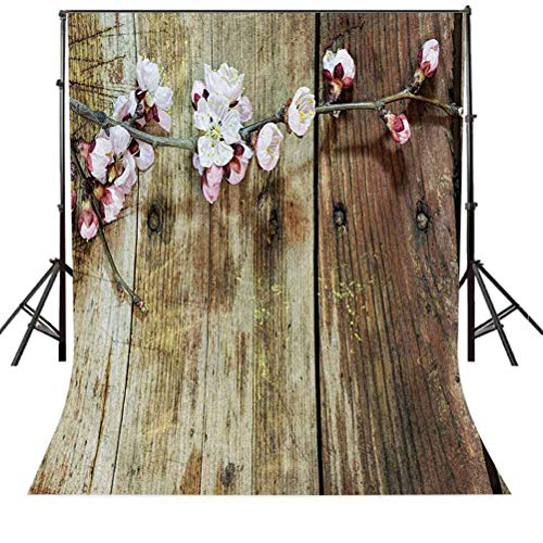 Rustic 4x6 FT Photography Backdrop, Stained Walnut Branch with Soft Twiggy Swirling Flowers Leaves Cottage Life Concept Background for Party Home Decor Outdoorsy Theme Vinyl Shoot Props Pink Brown