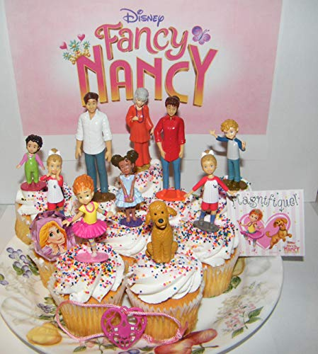 Fancy Nancy Deluxe Cake Toppers Cupcake Decorations Set of 13 with 10 Figures, Featuring Nancy and Friends, the Dog Frenchy, Fun Sticker and 2 Fashion Accessories!