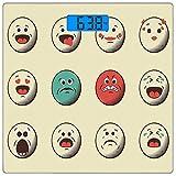 Escala digital de peso corporal de precisión Square Emoji Báscula de baño de...