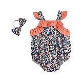 UMore Neugeborenes Baby Mädchen Baumwolle Blumen Gedruckt Niedlich Sommer Body Spielanzug Jumpsuit für 0-24 Monate