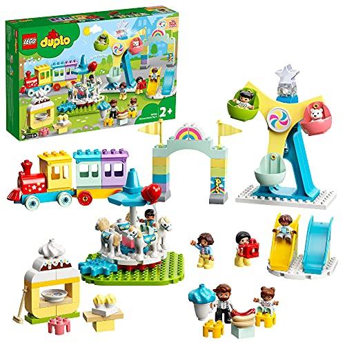 LEGO 10956 DUPLO Erlebnispark, Kinderspielzeug ab 2 Jahre mit Jahrmarkt und Zug