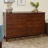 Walker Edison Wood Dresser Bedroom Storage Drawer Organizer Closet Hallway, 6, Walnut Brown