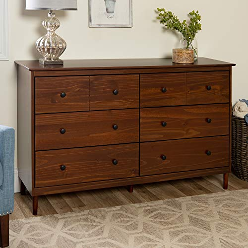 Walker Edison Wood Dresser Bedroom Storage Drawer Organizer Closet Hallway, 6, Walnut Brown