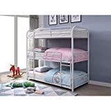 Metal Triple Bunk Bed with Solid Ladder Twin Size Three-Story Bed(White)