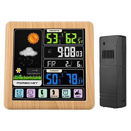MWW Trådlös väderstation med utomhussensor, utomhus inomhus temperatur termometer mätare, tidsklocka med pekskärm inomhus utomhus temperatur fuktighet alatm klocka färgskärm