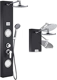 ROVOGO Stainless Steel Rainfall Shower Panel Tower System, 9-inch Round Head Shower + 2 Body Massage Sprays + 3-Mode Hand Showerhead, Multi-Function Massage System with Temperature Display, Black
