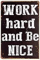 LLINGは一生懸命働いて、良い金属サイン、肯定的なライフスタイルポスター、現代の巣装飾(M 0088)である
