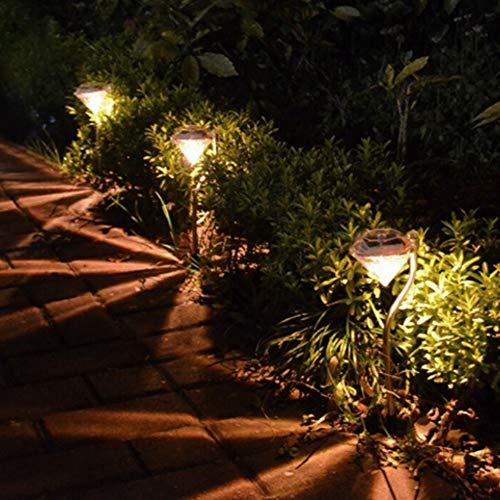 4 x Solar Power LED Diamant-Erdspieß Edelstahl Outdoor Solarleuchte Garten Bordüre Laternen Lampe warmweiß