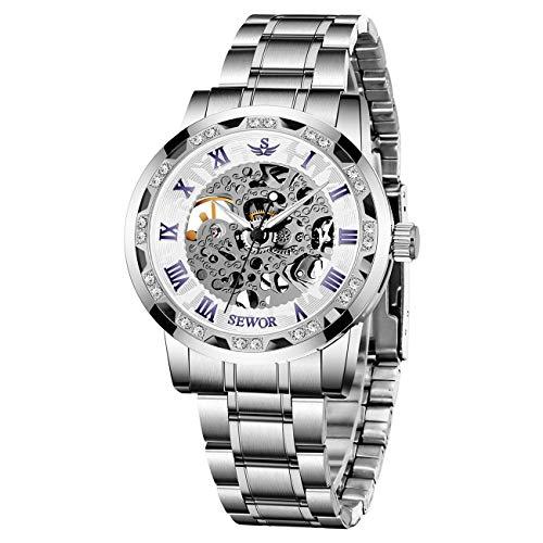 腕時計、メンズ腕時計 機械式 クラシック スケルトン ファッション メカニカル ステンレススチールウォッチ 高級 防水 ホロー スチームパンク ドレス時計