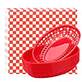 Fast Food Baskets & Deli Paper Liners, Eusoar 12 pcs Bread Baskets plus 100pcs Deli Paper, Restaurant Food Serving Tray Basket Sets for Restaurant Supplies, Deli Serving, Chicken, Burgers&Fries
