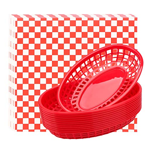 Fast Food Baskets & Deli Paper Liners, Eusoar 12 pcs Bread Baskets plus 100pcs Deli Paper, Restaurant Food Serving Tray Basket Sets for Restaurant Supplies, Deli Serving, Chicken, Burgers&Fries