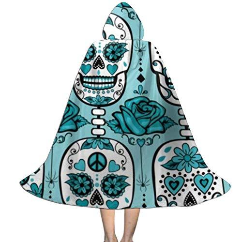 Capa con Capucha de Calaveras de azcar Turquesa Capa de polister para Fiesta de Halloween Capa de Disfraz para nios L