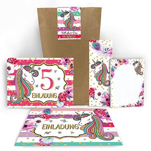 Junaversum 12 Einladungskarten zum 5. Kindergeburtstag Mädchen Einhorn Unicorn Einladungen zum fünften Geburtstag incl. 12 Umschläge, 12 Aufkleber, 12 Tüten, 12 Lesezeichen, 12 Notizblöcke