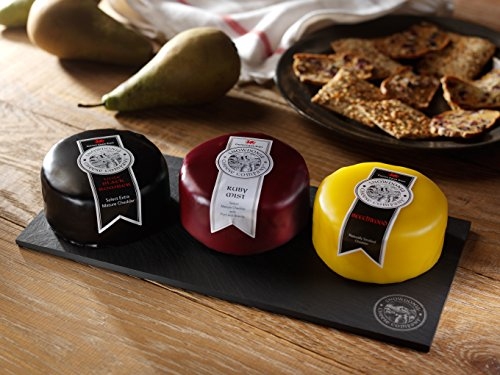 Snowdonia Cheese Company 3 Cheese Truckle Slate Board Selection Including - Black Bomber (200g) Ruby Mist (200g) Beechwood (220g) Welsh Slate Cheese Board Black Bomber - Creamy & Smooth Extra Mature Cheddar Loved For Its Depth Of Flavour. Black Bombe...