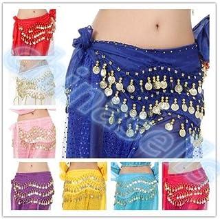 Cheap - 20pcs Belly Dance Hip Skirt Scarf Wrap Waist Belt 3Row 128Coins Sequins Indian Dance Waist Chain Dancing Waistband