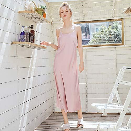 ZWLXY Sling Nachthemd Spitze Kunstseide Frauen Sinn V-Ausschnitt Frauen Lange Art Und Weise Nach Hause Service Nachtkleid,Rosa,L